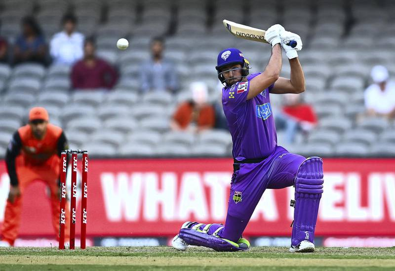 MELBOURNE, AUSTRALIA - JANUARY 22: Tim David of the Hurricanes bats during the Big Bash League match between the Hobart Hurricanes and the Perth Scorchers at Marvel Stadium, on January 22, 2021, in Melbourne, Australia. (Photo by Quinn Rooney/Getty Images)