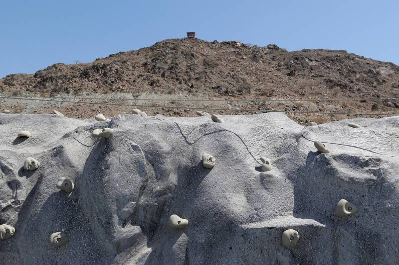 FUJAIRAH, UNITED ARAB EMIRATES , March 23, 2021 – View of the rock climbing wall at the Fujairah Adventures Park in Fujairah. (Pawan Singh / The National) For Instagram/Online/ Lifestyle. Story by Janice Rodrigues