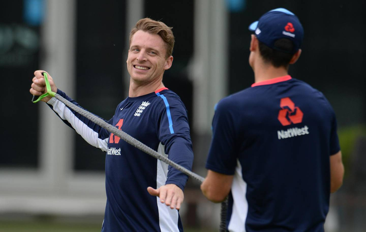 LONDON, ENGLAND - MAY 21 : Jos Buttler smiles during a training session before the 1st Test match between England and Pakistan at Lord's cricket ground on May 21, 2018 in London, England. (Photo by Philip Brown/Getty Images)