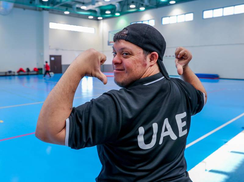Al Ain, UAE, March 8, 2018.  UAE Special Olympics team training sessions.  Proud to be with the Bocce UAE team, Salem Alkhaili.Victor Besa / The NationalNationalReporter; Ramola Talwar