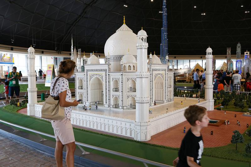 DUBAI , UNITED ARAB EMIRATES – Oct 31 , 2016 : View of the Taj Mahal at the Miniland made by Lego bricks which feature Dubai skyline , key landmarks from around the Middle East after the opening ceremony of Legoland Dubai in Dubai.  ( Pawan Singh / The National ) For News. Story by Nick Webster. ID No - 33930  *** Local Caption ***  PS3110- LEGOLAND48.jpg