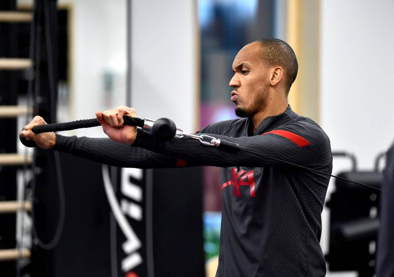 KIRKBY, ENGLAND - NOVEMBER 19: (THE SUN OUT, THE SUN ON SUNDAY OUT) Fabinho of Liverpool during a gym training session at AXA Training Centre on November 19, 2020 in Kirkby, England. (Photo by Andrew Powell/Liverpool FC via Getty Images)
