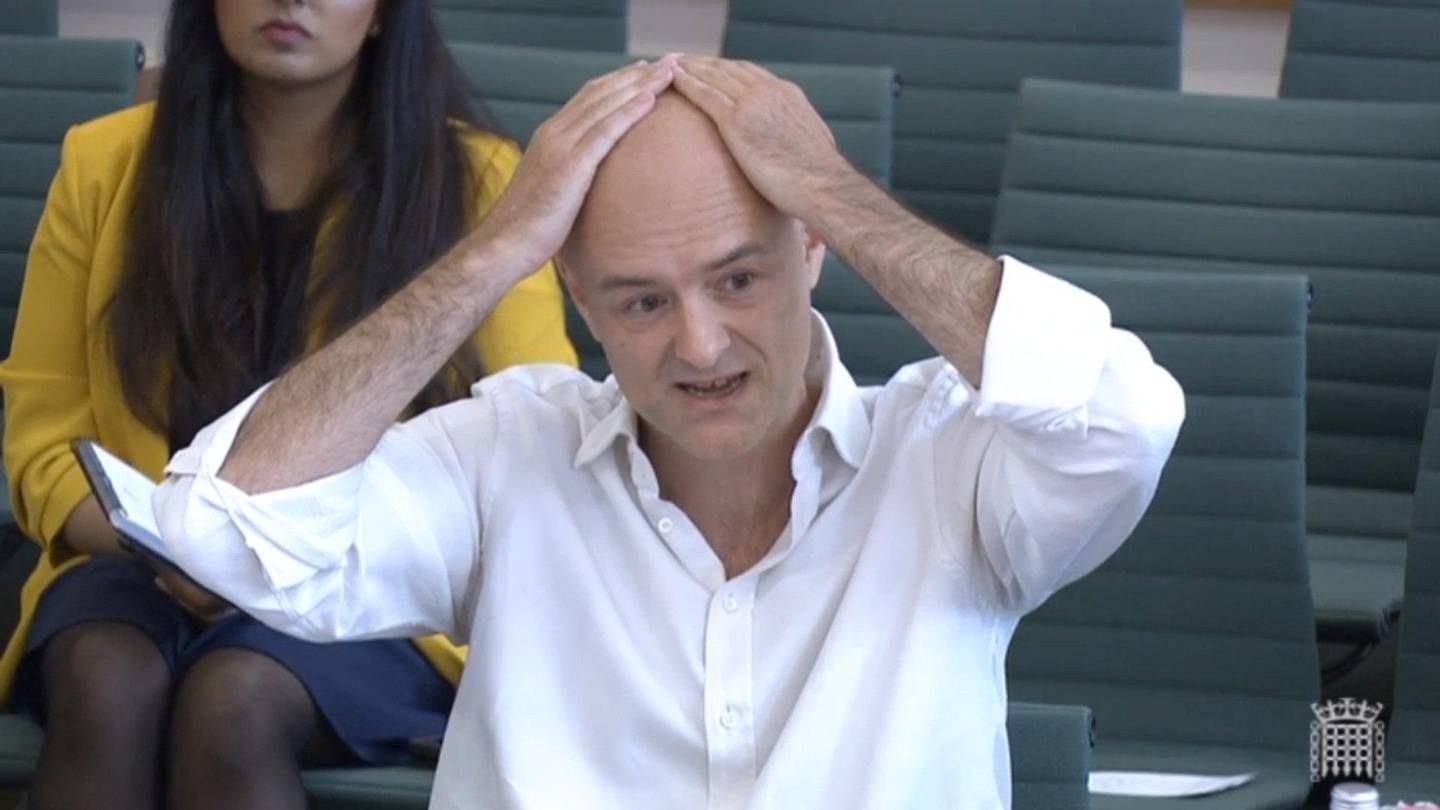 epa09228510 A frame grab from video provided by the UK Parliament shows Dominic Cummings, former Special Advisor to British Prime Minister Boris Johnson, giving evidence at the Science and Technology Committee and Health and Social Care Committee in central London, Britain, 26 May 2021. Cummings is giving evidence over the government's handling of the Covid-19 coronavirus crisis.  EPA/UK PARLIAMENTARY RECORDING UNIT HANDOUT -- MANDATORY CREDIT: UK PARLIAMENTARY RECORDING UNIT -- HANDOUT EDITORIAL USE ONLY/NO SALES