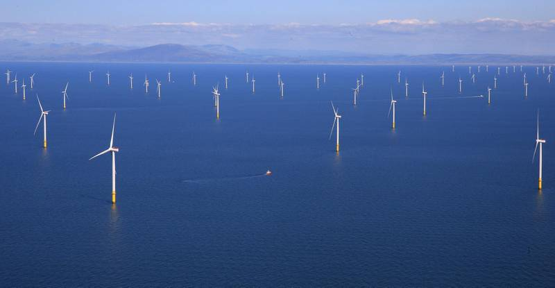 EMBARGOED UNTIL 0001 BST 06SEPT18 (2301 GMT 05SEPT18) General view of the Walney Extension offshore wind farm operated by Orsted off the coast of Blackpool, Britain September 5, 2018. REUTERS/Phil Noble