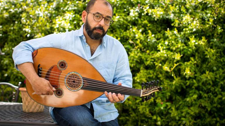 An image that illustrates this article Oud to joy: Attab Haddad has the world on a string