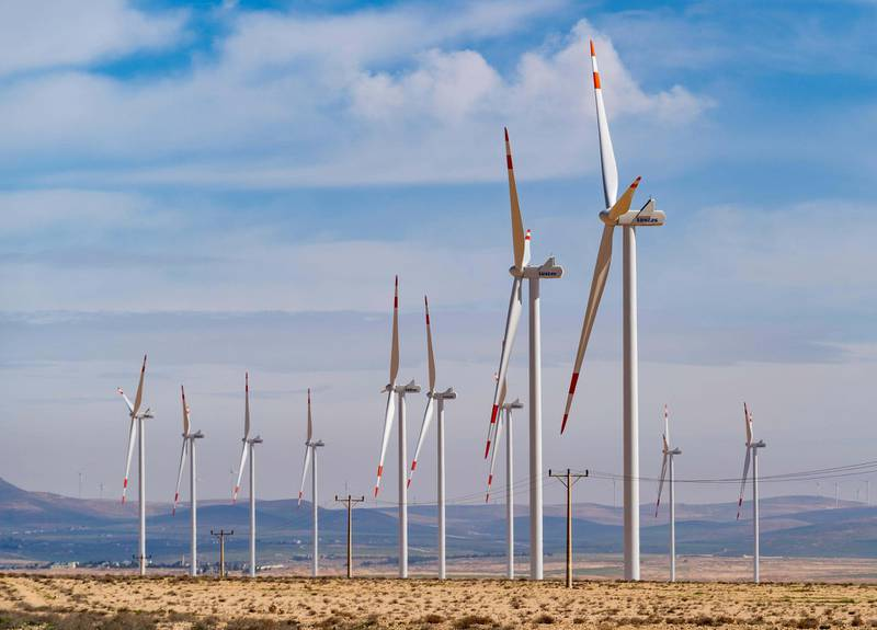 T3DF6R Wind turbines at a wind farm beside King's Highway  in Ma'an Governorate in Jordan. Alamy