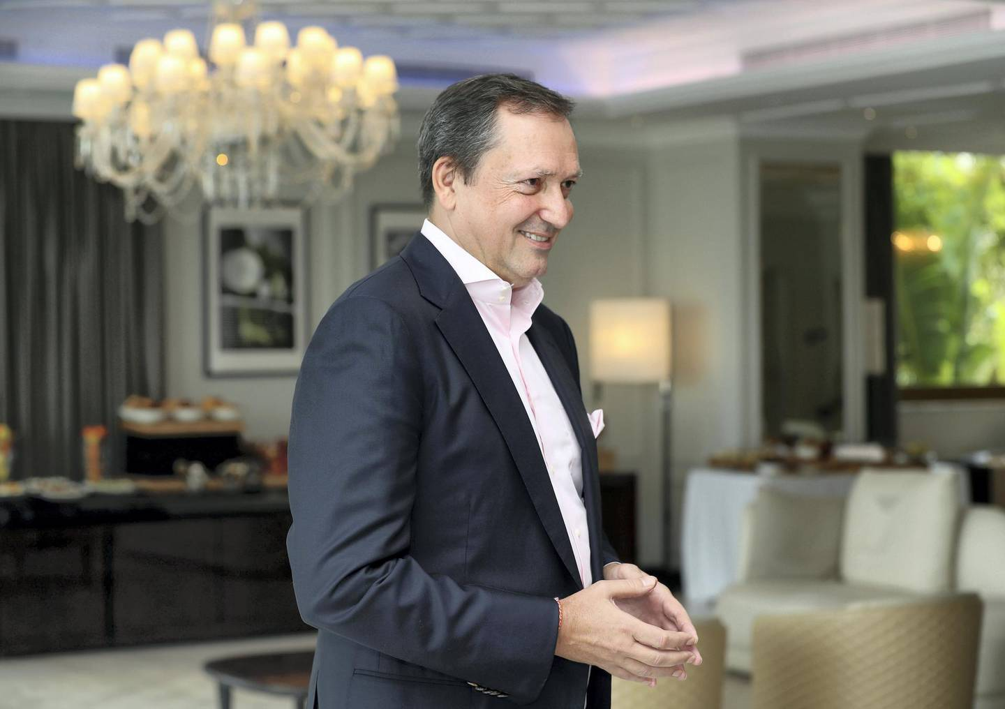 Dubai, United Arab Emirates - August 13, 2018: Josef Kleinienst, Chairman of Kleindienst Group developer of The Heart of Europe at the Sweden Beach Palace. Monday, August 13th, 2018 in Dubai. Chris Whiteoak / The National