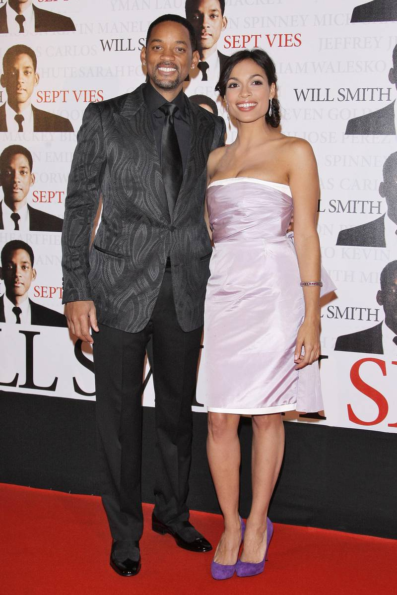 PARIS - JANUARY 05:  Actors Will Smith and Rosario Dawson attend the Paris Premiere of 'Seven Pounds' at the Gaumont Champs-Elysees on January 5, 2009 in Paris, France. (Photo by Francois Durand/Getty Images)