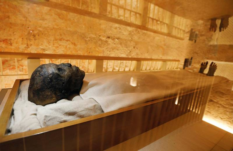 The mummy of boy pharaoh King Tutankhamun is on display in his newly renovated tomb in the Valley of the Kings in Luxor, Egypt October 10, 2019. REUTERS/Mohamed Abd El Ghany