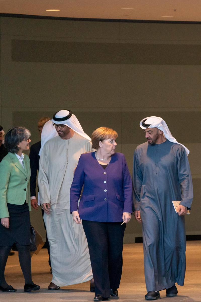 Sheikh Mohamed bin Zayed Al Nahyan, Crown Prince of Abu Dhabi and Deputy Supreme Commander of the UAE Armed Forces, meet German Chancellor Angela Dorothea Merkel in Berlin, Germany. Mohamed bin Zayed's twitter