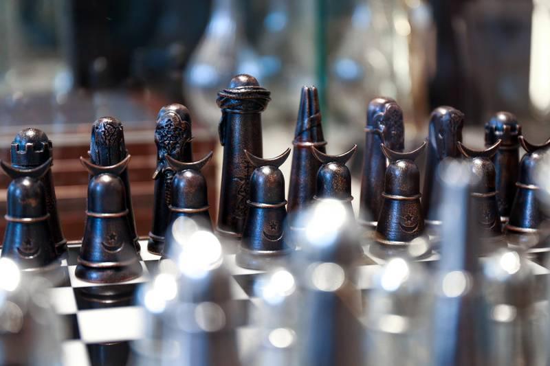 Dubai, UAE, April 4, 2016.  Hareem Al Sultan Exhibition at City Walk, Al Wasl. Ottoman Chess Set- AED 4,000 Victor Besa for The National. ID: 93726 Writer:  Rym Ghazal Arts & Life *** Local Caption ***  VB_04-04-16_Hareem Al Sultan-64.jpg
