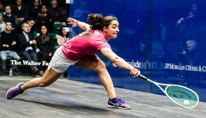 Mandatory Credit: Photo by TANNEN MAURY/EPA-EFE/Shutterstock (10128536e)Raneem El Welily of Egypt in action during their semi final match at the 2018-2019 PSA World Championship squash tournament at Union Station in Chicago, Illinois, USA, 01 March 2019.2018-2019 PSA World Championships in Chicago, USA - 01 Mar 2019