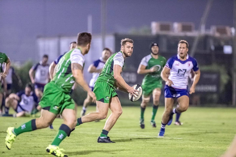 DUBAI, UNITED ARAB EMIRATES. 19 October 2017. West Asia Premiership - Jebel Ali Dragons (Blue) vs Dubai Sports City Eagles (Green). (Photo: Antonie Robertson/The National) Journalist: Paul Radley. Section: Sport.