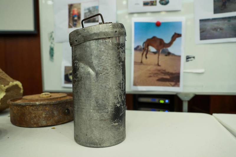 Abu Dhabi, U.A.E., June 19, 2018. Allegedly used Iranian weapons that have been used in Yemen.  Land mines.Victor Besa / The NationalSection:  NARequested by:   Jake Badger
