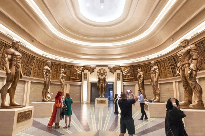ABU DHABI, UNITED ARAB EMIRATES. 24 JULY 2018. Warner Brother World on Yas Island West. Media tour of the Warner Bros World Abu Dhabi opening. The Hall of Justice as the entrance to the Justice League ride. (Photo: Antonie Robertson/The National) Journalist: Haneen Dajani. Section: National.
