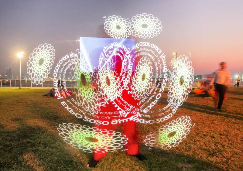 Abu Dhabi, United Arab Emirates- A performer entertaining visitors at the Expo 2020 countdown at The Louvre, Saadiyat.  Leslie Pableo for The National