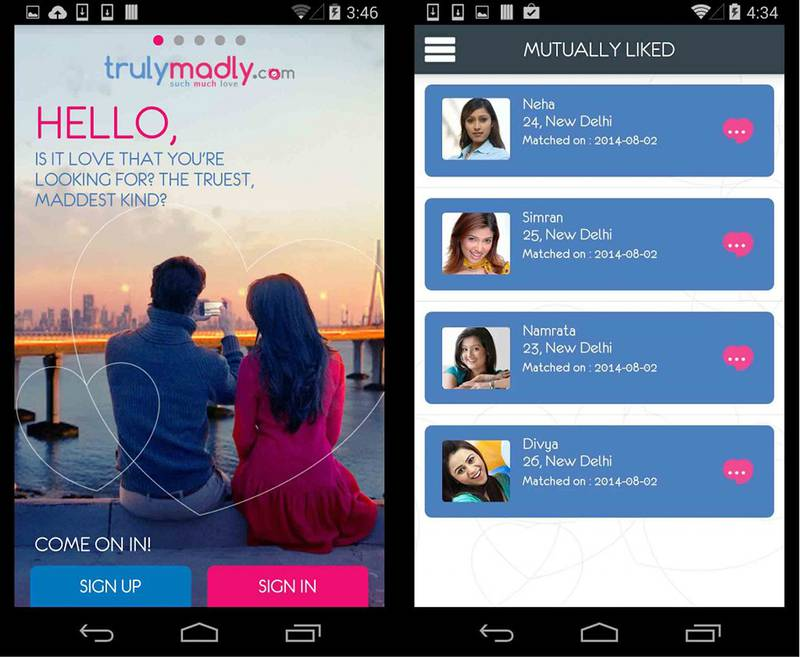 The TrulyMadly dating app from India NO CREDIT -  or credit: courtesy TrulyMadly.com *** Local Caption ***  al19ja-TrulyMadly-app.jpg
