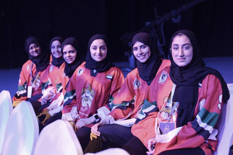 From left Muna Al Dhaheri,Lateefa Al Sawaidi,Fatema Al Qubaisi,Khulood Sugaa, Fatima Al Ali, Mariam Al Mazrouei, UAE's Ice Hockey team, during The 4th International Conference of Sports for Women ,which held at ADNEC , Abu Dhabi,UAE, Vidhyaa for The National