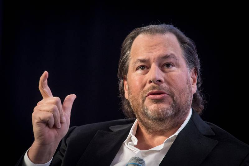 Marc Benioff, chairman and co-chief executive officer of Salesforce.com Inc., speaks during TechCrunch Disrupt 2019 in San Francisco, California, U.S., on Thursday, Oct. 3, 2019. TechCrunch Disrupt, the world's leading authority in debuting revolutionary startups, gathers the brightest entrepreneurs, investors, hackers, and tech fans for on-stage interviews. Photographer: David Paul Morris/Bloomberg