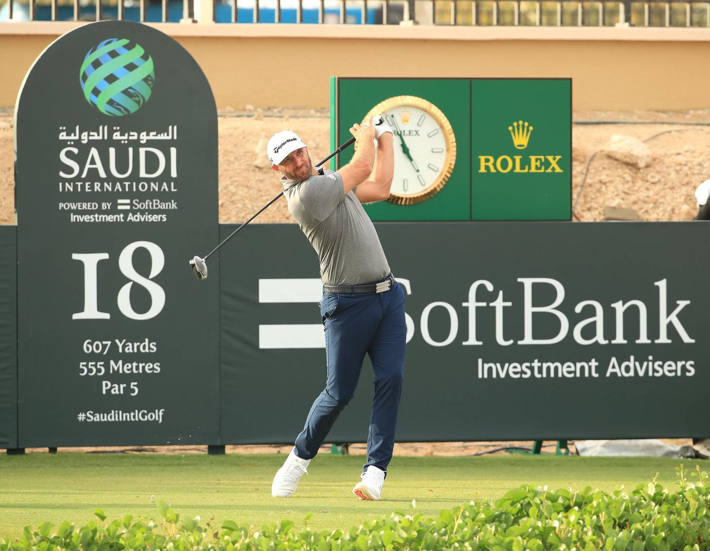 KING ABDULLAH ECONOMIC CITY, SAUDI ARABIA - JANUARY 31: Dustin Johnson of The United States of America tees off on the 18th hole during Day 2 of the Saudi International at Royal Greens Golf and Country Club on January 31, 2020 in King Abdullah Economic City, Saudi Arabia. (Photo by Andrew Redington/WME IMG/WME IMG via Getty Images)