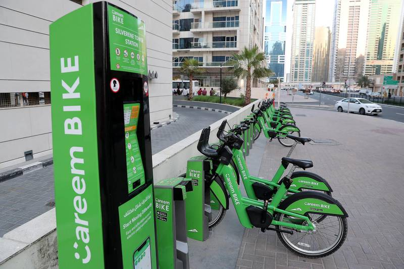 DUBAI, UNITED ARAB EMIRATES , October 12 – 2020 :- View of the Careem bike station in Dubai Marina in Dubai. (Pawan Singh / The National) For Stock