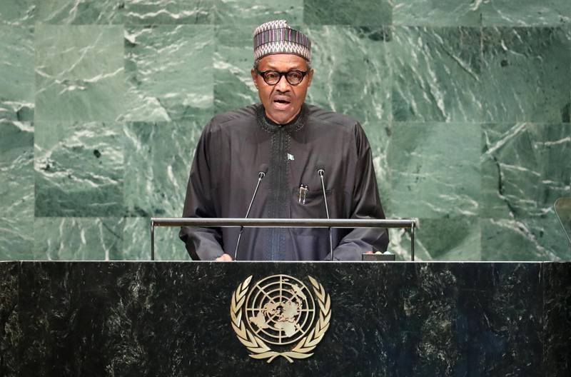 FILE PHOTO: Nigeria's President Muhammadu Buhari addresses the 73rd session of the United Nations General Assembly at U.N. headquarters in New York, U.S., September 25, 2018. REUTERS/Carlo Allegri/File Photo