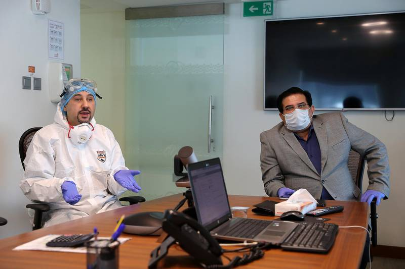 DUBAI, UNITED ARAB EMIRATES , April 26– 2020 :- Left to Right - Dr. Adel Alsisi, Consultant Critical Care Medicine, Chief Medical Officer, Prime Hospital and Shatrujeet Kumar Rai, Hospital Director of Prime Hospital during the interview at the Prime Hospital on airport road in Al Garhoud in Dubai . (Pawan Singh / The National) For News/Standalone/Online/Instagram/Stock.  Story by Nick Webster