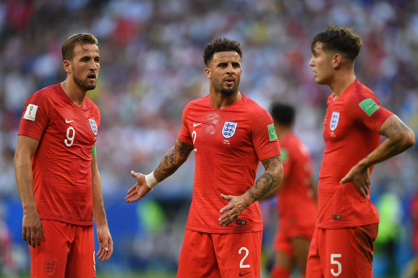 SAMARA, RUSSIA - JULY 07:  Harry Kane and Kyle Walker of England look on during the 2018 FIFA World Cup Russia Quarter Final match between Sweden and England at Samara Arena on July 7, 2018 in Samara, Russia.  (Photo by Matthias Hangst/Getty Images)