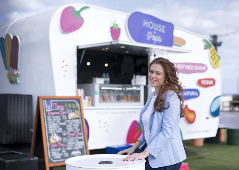 DUBAI, UNITED ARAB EMIRATES. 1 FEBRUARY 2021. Marcela Sancho, co-founder of House Of Pops, which makes and sells a range of all-natural ice pops and vegan ice creams, inspired by Mexican recipes. Photo: Reem Mohammed / The NationalReporter: David Dunn