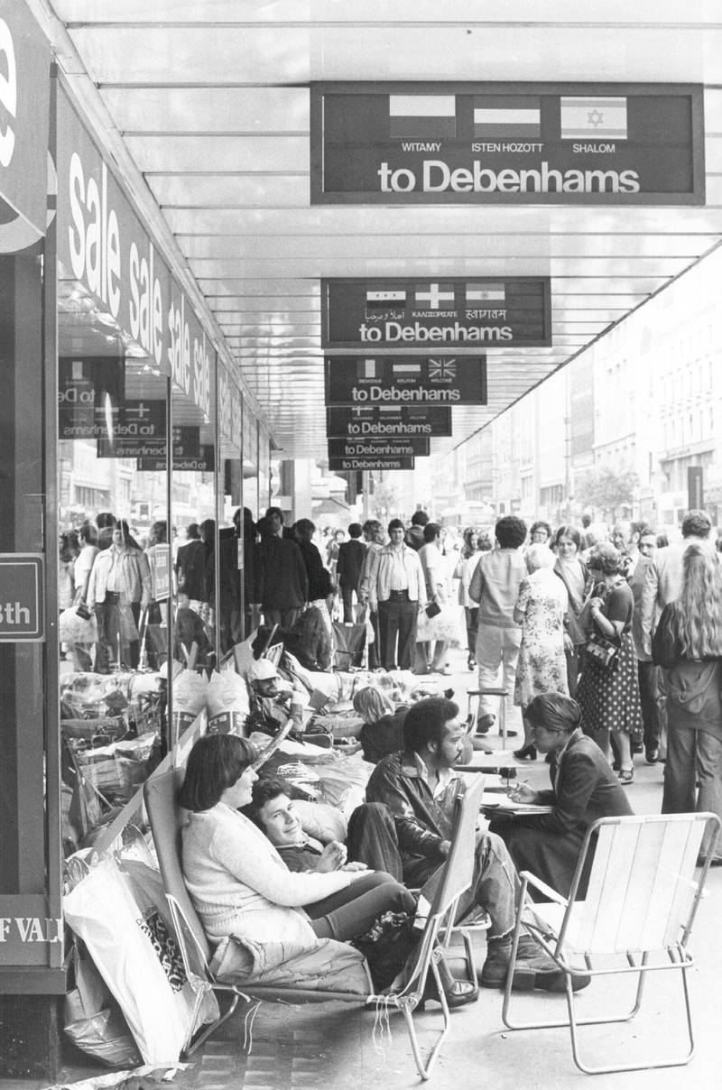 1978:  Crowds on the pavement outside Debenhams department store wait for the sale to begin.  (Photo by Evening Standard/Getty Images)