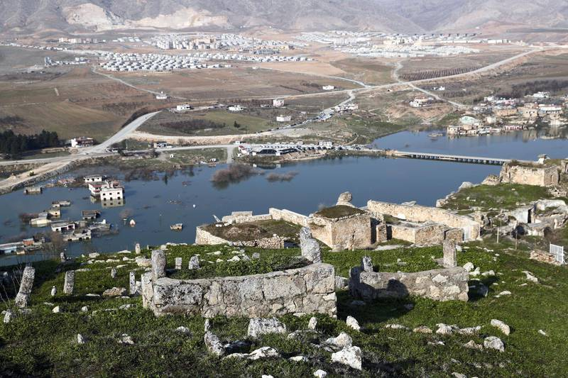 An old cemetery is seen in Hasankeyf, which will be significantly submerged by the Ilisu Dam, with new Hasankeyf in the background in southeastern Batman province, Turkey, February 20, 2020. Picture taken February 20, 2020. REUTERS/Murad Sezer