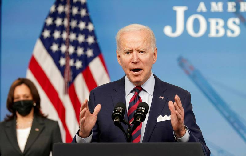 FILE PHOTO: U.S. President Joe Biden speaks about jobs and the economy at the White House in Washington, U.S., April 7, 2021. REUTERS/Kevin Lamarque/File Photo