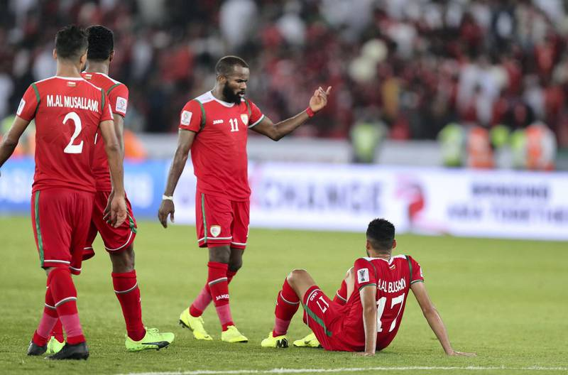 Abu Dhabi, United Arab Emirates - January 13, 2019: Al Al Busaidi (17) of Oman looks disappointed after the game between Japan and Oman in the Asian Cup 2019. Sunday, January 13th, 2019 at Zayed Sports City Stadium, Abu Dhabi. Chris Whiteoak/The National