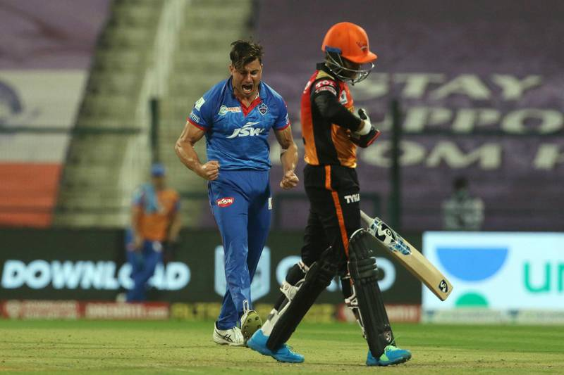 Marcus Stoinis of Delhi Capitals celebrates the wicket of Priyam Garg of Sunrisers Hyderabad  during the qualifier 2 match of season 13 of the Dream 11 Indian Premier League (IPL) between the Delhi Capitals and the Sunrisers Hyderabad at the Sheikh Zayed Stadium, Abu Dhabi in the United Arab Emirates on the 8th November 2020.  Photo by: Vipin Pawar  / Sportzpics for BCCI