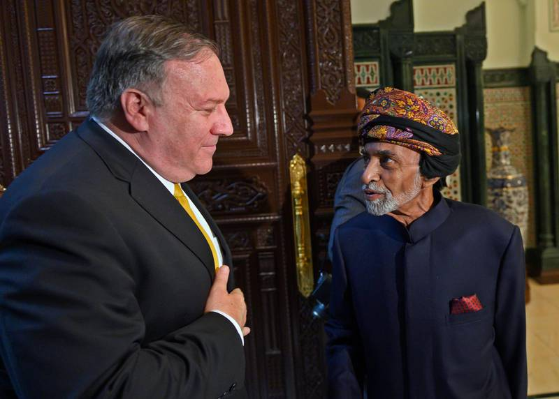 Secretary of State Mike Pompeo meets with Sultan Qaboos in Muscat, Oman, Monday, Jan. 14, 2019. (Andrew Caballero-Reynolds/Pool Photo via AP)