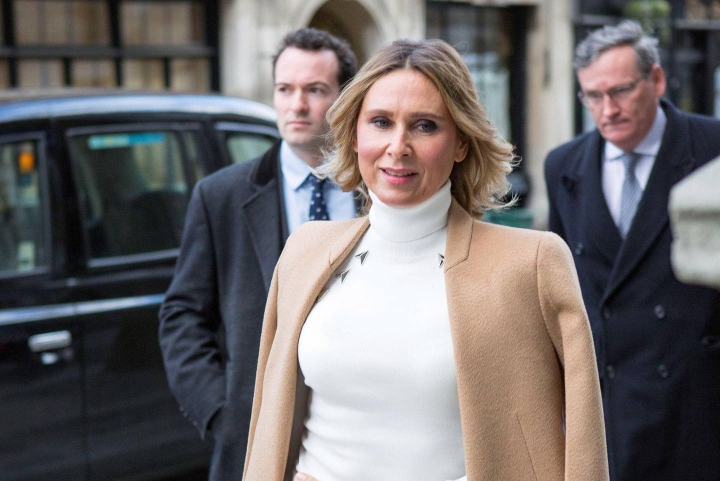 Tatiana Akhmedova arrives at court which is considering legal issues in the divorce case against Russian billionaire businessman Farkhad Akhmedov, at a Court of Appeal hearing at the Royal Courts of Justice in London Thursday Feb. 1, 2018.  Akhmedova was awarded Pounds 453 million (US 645 million dlrs) in divorce settlement, but according to her legal team no payment has yet been made. (Rick Findler/PA via AP)