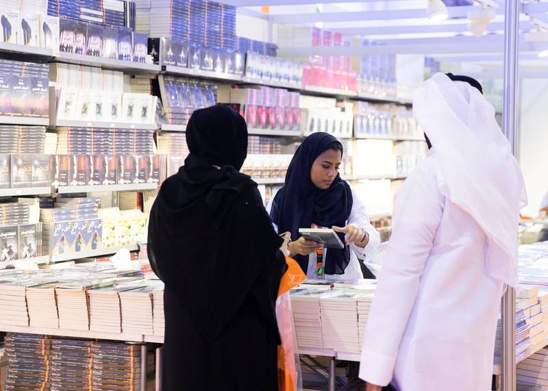 SHARJAH, UNITED ARAB EMIRATES. 30 October 2019. The 38th Sharjah International Book Fair edition at Expo Centre Sharjah, offering more than 1.6 million titles to publishers as well as eager readers of all ages.(Photo: Reem Mohammed/The National)Reporter:Section:
