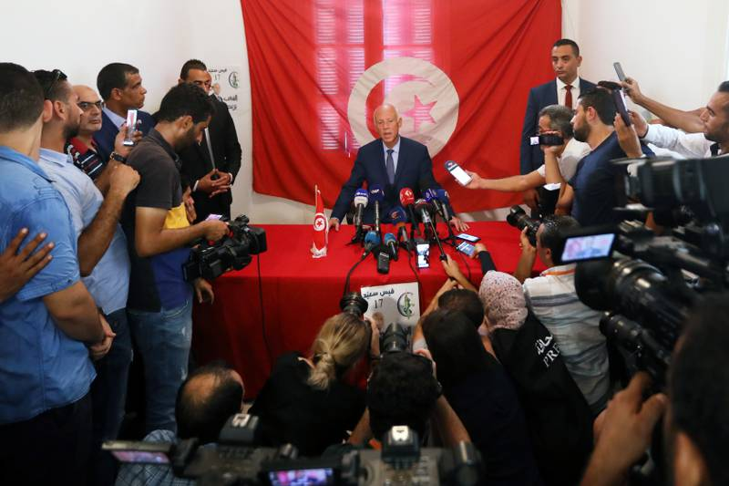 Presidential candidate Kais Saied speaks during a news conference after the announcement of the results in the first round of Tunisia's presidential election in Tunis, Tunisia September 17, 2019. REUTERS/Muhammad Hamed