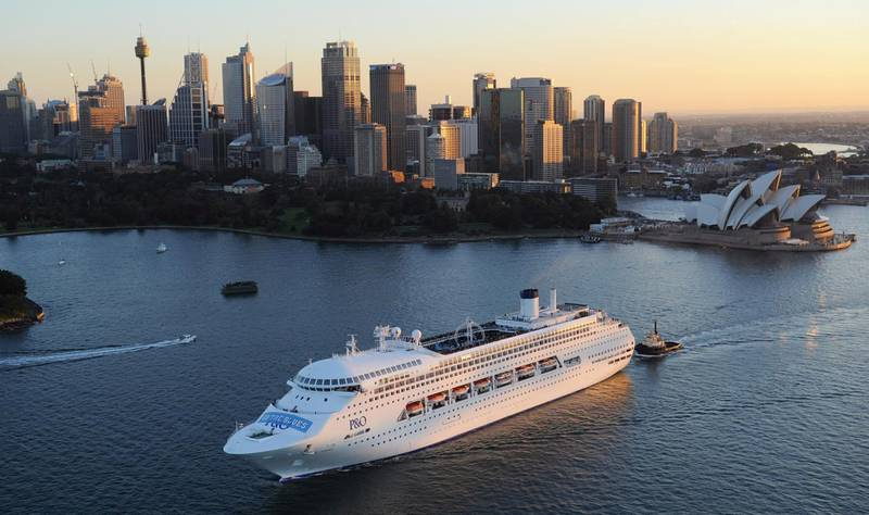 SYDNEY, AUSTRALIA - JUNE 9:  In this handout image provided by Carnival Australia, P&O Cruises 'Pacific Jewel' cruise's out of Sydney with a message of support for the New South Wales State of Origin team emblazoned across her front on June 9, 2012 in Sydney, Australia. The Sydney-based superliner sported a giant banner measuring 24m by 5m above her bow, cheering on the Blues ahead of the all-important second State of Origin match against the Queensland Maroons at ANZ Stadium on June 13. Pacific Jewel's 1900 passengers will be able to watch the second Origin game live on the ship's Big Screen during a call at Vila, Vanuatu, on Wednesday June 13, as part of a 13-night roundtrip Pacific Islands cruise.  The move follows the cruise line securing an international rights deal to show live NRL games at sea, including all three State of Origin matches. (Photo by James Morgan/Carnival Australia via Getty Images)