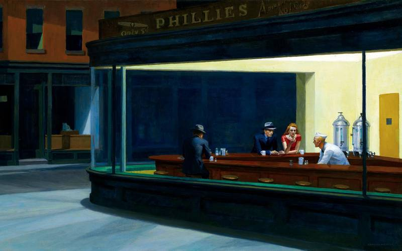 Edward Hopper (American, 1882-1967), Nighthawks, 1942, oil on canvas, 84.1 x 152.4 cm (33 1/8 x 60 in.), Art Institute of Chicago (Photo by VCG Wilson/Corbis via Getty Images)