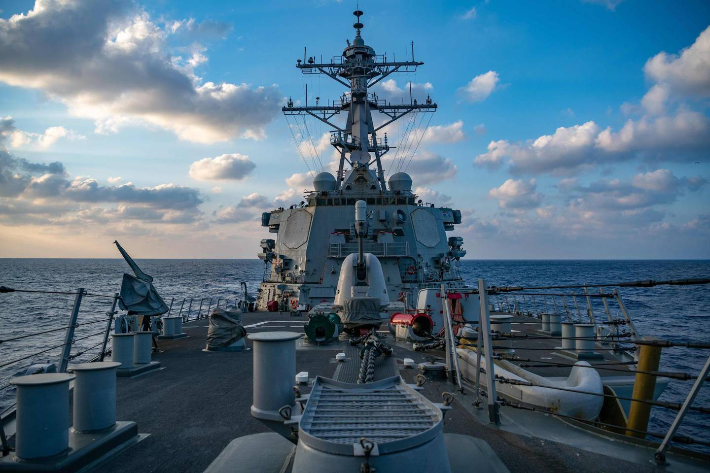 """This US Navy photo released April 29, 2020 shows The Arleigh-Burke class guided-missile destroyer USS Barry (DDG 52) conducting underway operations on April 28, 2020 in the South China Sea.  Barry is forward-deployed to the US 7th Fleet area of operations in support of security and stability in the Indo-Pacific region. A US Navy  guided-missile destroyer sailed through waters near the Paracel islands in the South China Sea challenging China's claim to the area, the Navy said April 29, 2020. The USS Barry undertook the so-called """"freedom of navigation operation"""" on Tuesday, a week after Beijing upped its claims to the region by designating an official administrative district for the islands.  - RESTRICTED TO EDITORIAL USE - MANDATORY CREDIT """"AFP PHOTO US NAVY/SAMUEL HARDGROVE/HANDOUT """" - NO MARKETING - NO ADVERTISING CAMPAIGNS - DISTRIBUTED AS A SERVICE TO CLIENTS  / AFP / US NAVY / Samuel HARDGROVE / RESTRICTED TO EDITORIAL USE - MANDATORY CREDIT """"AFP PHOTO US NAVY/SAMUEL HARDGROVE/HANDOUT """" - NO MARKETING - NO ADVERTISING CAMPAIGNS - DISTRIBUTED AS A SERVICE TO CLIENTS"""