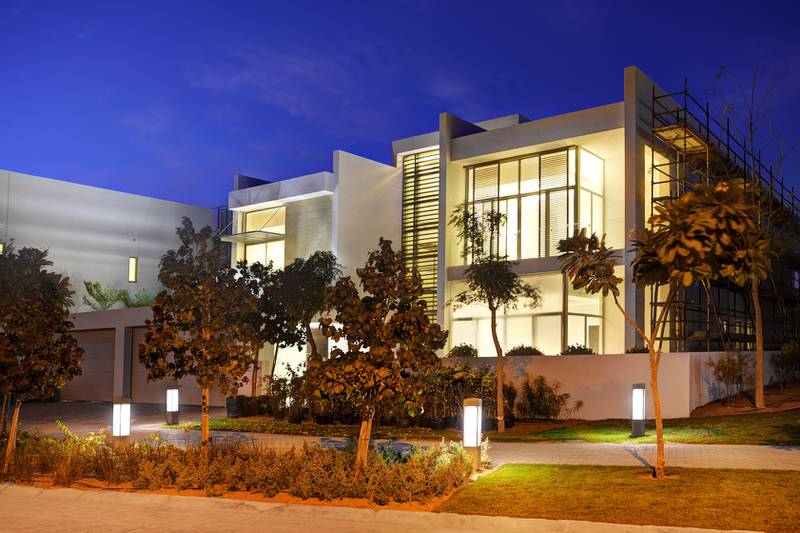 Contemporary Villa Style - Exterior. Meydan Sobha today officially launched the latest phase of Mohammed Bin Rashid Al Maktoum City Ð District One, the new community adding another living dimension to DubaiÕs city centre. The development is four kilometres from Burj Khalifa, situated in the heart of Downtown Dubai. Courtesy Meydan Sobha *** Local Caption ***  bz02fe-Meydan-Sobha-06.jpg