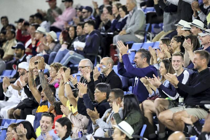 Abu Dhabi, United Arab Emirates - Reporter: Jon Turner: Fans watch the third place play-off between Novak Djokovic v Karen Khachanov at the Mubadala World Tennis Championship. Saturday, December 21st, 2019. Zayed Sports City, Abu Dhabi. Chris Whiteoak / The National