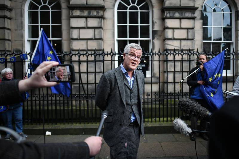 EDINBURGH, SCOTLAND - OCTOBER 07: Jolyon Maugham QC, one of those behind the legal petition to gain a court order to make Boris Johnson seek a Brexit extension, stands outside the Court of Session on October 7, 2019 in Edinburgh, Scotland. Scottish judge Lord Pentland, has dismissed a move to force Prime Minister Boris Johnson to seek to delay the UK's departure from the EU. (Photo by Jeff J Mitchell/Getty Images)