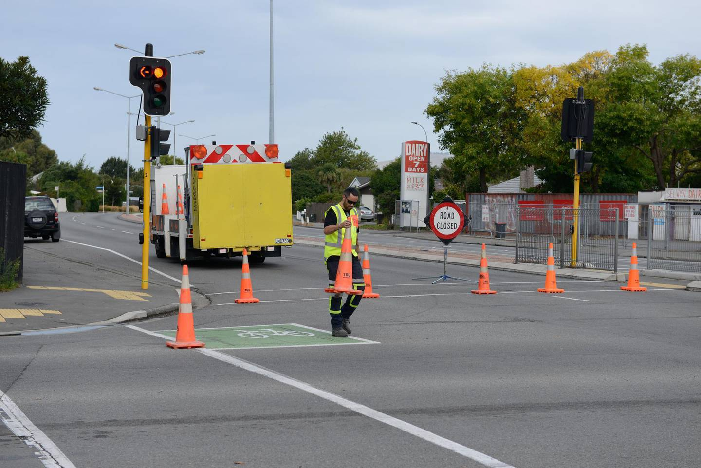 CHRISTCHURCH, NEW ZEALAND  MARCH 15: A police blockade is seen at the intersection of Brougham Street and Selwyn Street on March 15, 2019 in Christchurch, New Zealand. Roads were closed as police responded to an active shooter situation following shootings at two mosques in the city. 40 people have been confirmed dead, with a further 25 injured. The deaths occurred at Al Noor mosque on and the Linwood Masjid in Christchurch after armed men entered the mosques and opened fire. Four people, three men and a woman, are now in custody. (Photo by Kurt Langer/Getty Images)