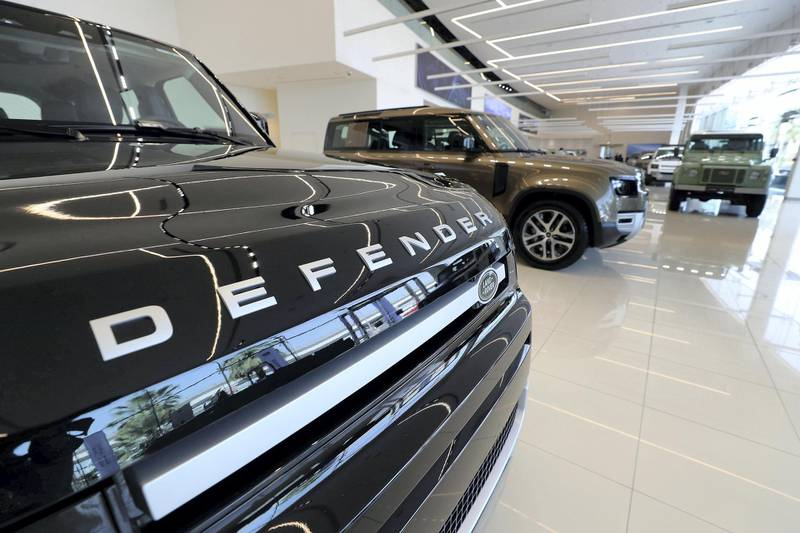 DUBAI, UNITED ARAB EMIRATES , June 27 – 2020 :- Land Rover Defender on display at the Land Rover Defenders showroom on Sheikh Zayed Road in Dubai. (Pawan Singh / The National) For Motoring. Story by Simon