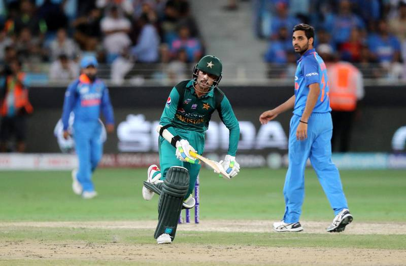 DUBAI , UNITED ARAB EMIRATES, September 19 , 2018 :- Mohammad Amir of Pakistan taking a run during the Asia Cup UAE 2018 cricket match between Pakistan vs India held at Dubai International Cricket Stadium in Dubai. ( Pawan Singh / The National )  For Sports. Story by Paul
