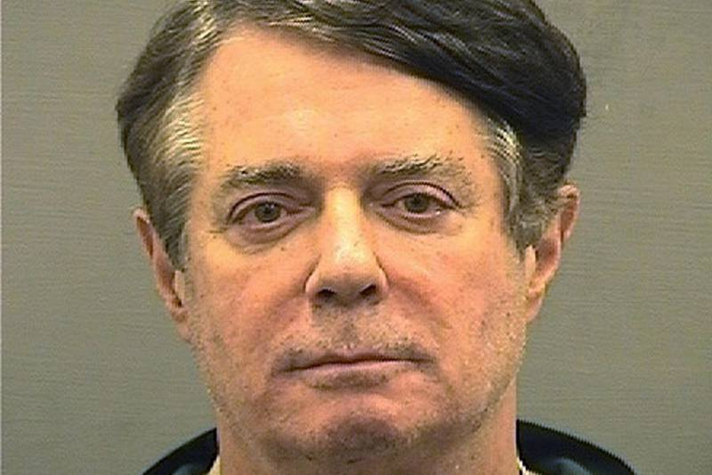 FILE PHOTO: Former Trump campaign manager Paul Manafort is shown in this booking photo in Alexandria, Virginia, U.S., July 12, 2018.   Alexandria Sheriff's Office/Handout via REUTERS/ File Photo   ATTENTION EDITORS - THIS IMAGE WAS PROVIDED BY A THIRD PARTY. THIS PICTURE WAS PROCESSED BY REUTERS TO ENHANCE QUALITY. AN UNPROCESSED VERSION HAS BEEN PROVIDED SEPARATELY.