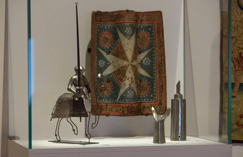 Abu Dhabi, United Arab Emirates- Miniature knight's armour and horse armour at Furusiyya The Art of Chivalry between East and West, which draws links between knightly traditions of Europe and the Middle East at Louvre Abu Dhabi.  Leslie Pableo for The National