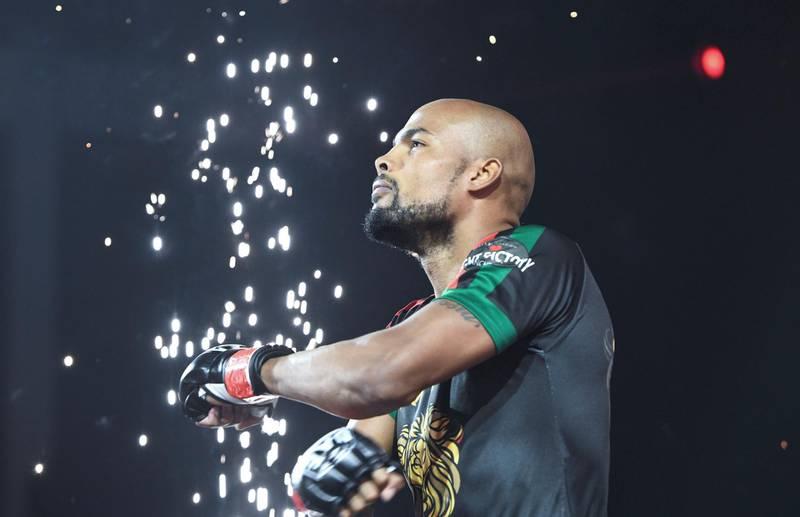 Abu Dhabi, United Arab Emirates - Seb Eubank wins against  Emaad Hanbali during the UAE Warriors Fighting Championship at Mubadala Arena, Zayed Sports City. Khushnum Bhandari for The Nationa